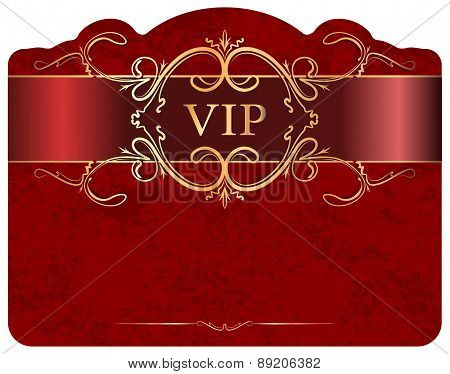 VIP design on a red luxury background. Vector illustration