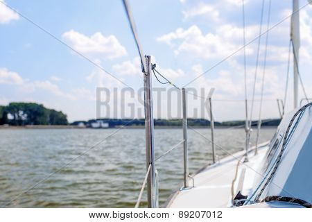 Port Side Of Mid-size Yacht Ready To Set Sail