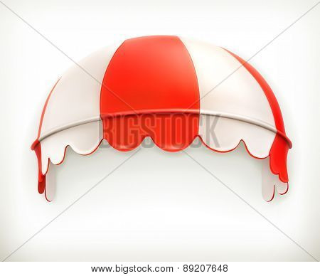 Red an white striped awning, excellent canopy, protection from sun and rain, vector icon