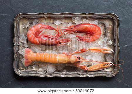 Raw Langoustine And Shrimps On Ice
