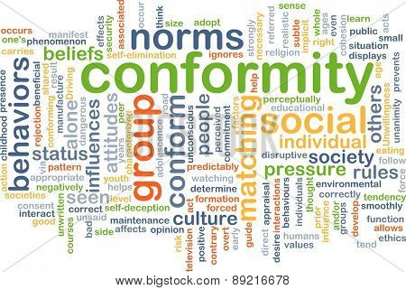 Background concept wordcloud illustration of conformity behavior