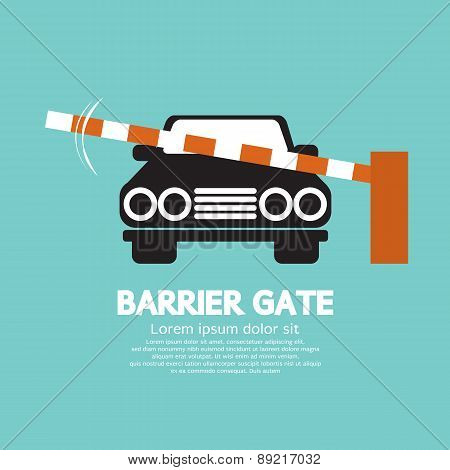Security Barrier Gate Closed For Vehicle.