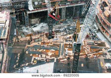 Bird Eye View Of A Mega Construction Site In America