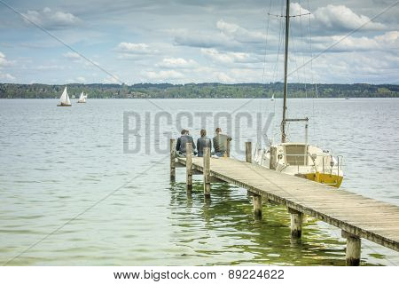 An old jetty at Starnberg Lake in Germany Bavaria Tutzing