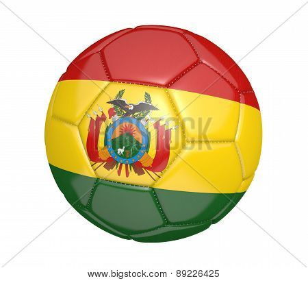 Soccer ball, or football, with the country flag of Bolivia
