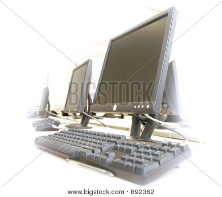 computer room monitor and keyboard in white background poster