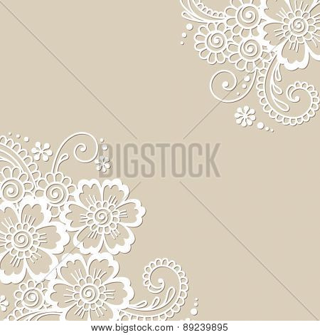 White flower corner, lace ornament