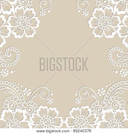 Flower vector ornament frame. White flower frame, lace ornament.