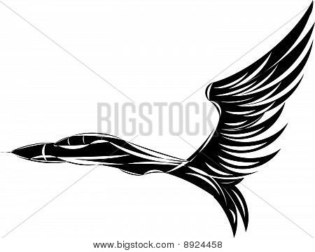 Vector sketch of jet fighter with eagle wings.