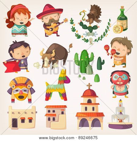 Mexican Set With Local Elements And Characters.