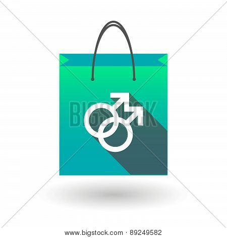 Blue Shopping Bag Icon With A Male Gay Sign