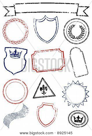 Vector set of different mock up stamps.