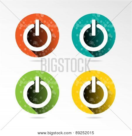 Set, collection, group of four power, modern, colorful - red, blue, green, yellow, isolated, round b