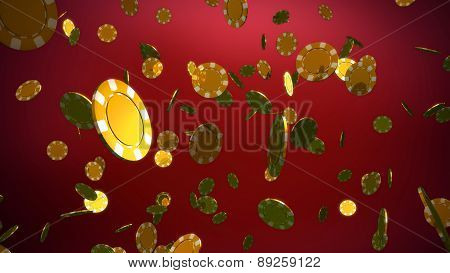 Golden Casino Chips Red Background