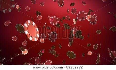 Red Casino Chips Red Background