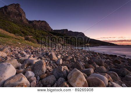 Rocky beach Cape Town sunset