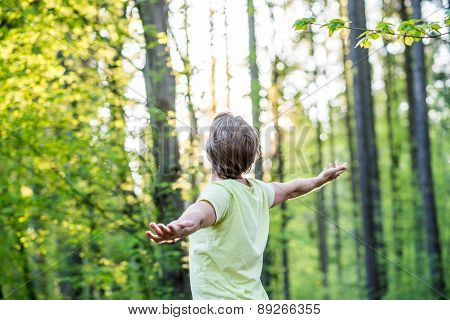 Young Man Celebrating Nature