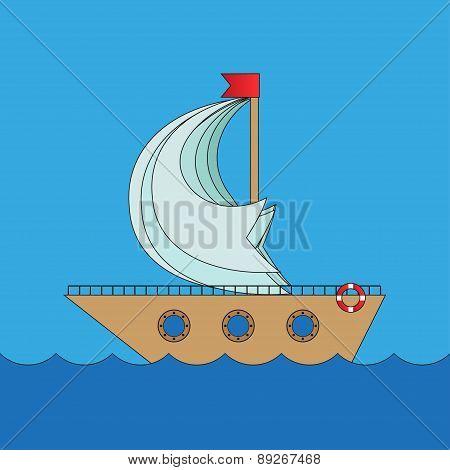 Cartoon vector ship in sea