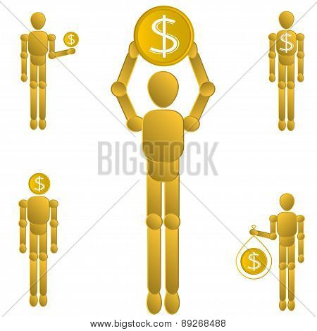 Dollar Coin gold manikin set