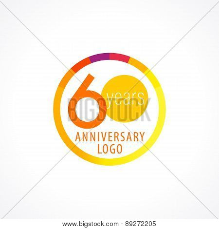 60 years old circle logo. Anniversary year of 60 th vector chart template medal. Birthday greetings circle celebrates. Celebrating numbers. Colorful stamp with diagram. Figures of ages. Letter O.
