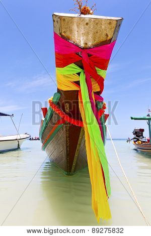 Prow Thailand  In  Kho Tao Bay   Water    Pirogue   And South China Sea