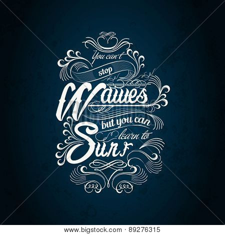waves surf typography design