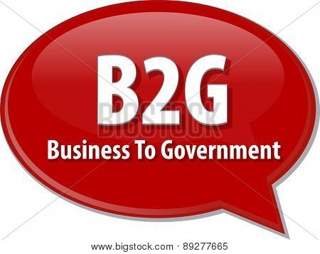 word speech bubble illustration of business acronym term B2G Business to Government vector poster