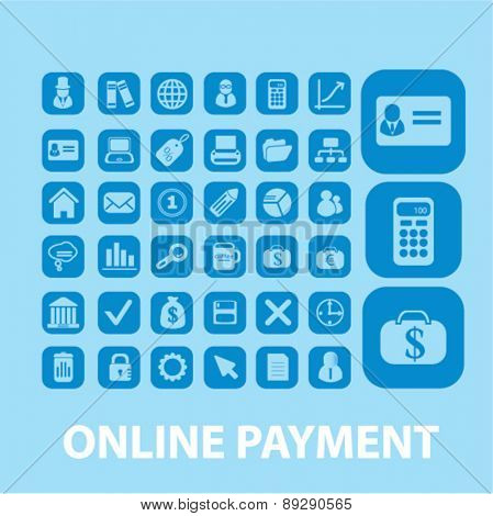 online payment, bank, atm isolated web, internet, mobile, applcation icons, signs, illustrations design concept set, vector