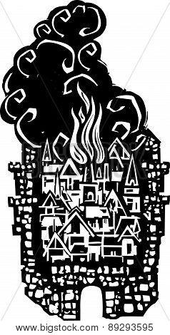Woodcut Burning City