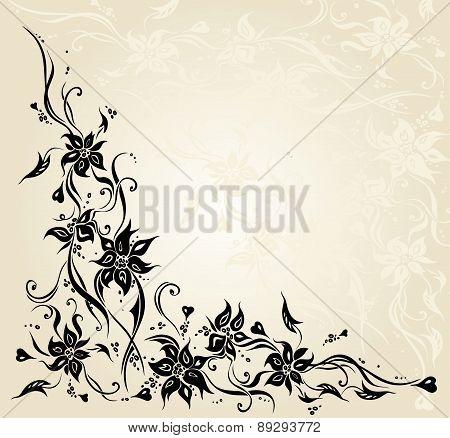 Ecru Vintage Floral Invitation Wedding Background Design.eps