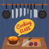Culinary cooking classes invitation, flat design vector illustration poster