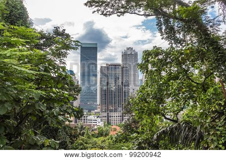 A Modern City Surrounded By Jungle