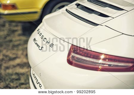 Sleza, Poland, August 15, 2015: Close Up On Porshe 911 Carrera S Car Logo On  Motorclassic Show On A