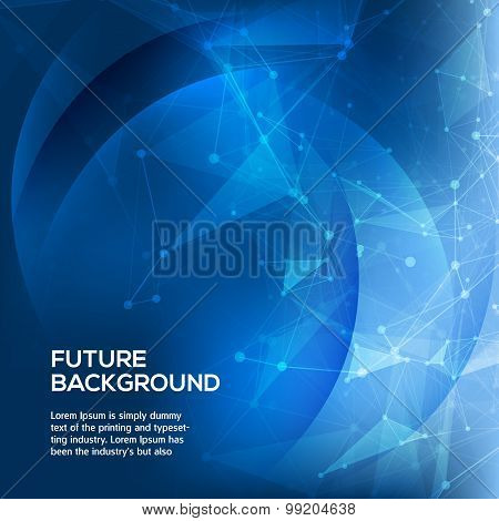 Abstract Blue Background. Abstract polygonal space low poly dark background with connecting dots and