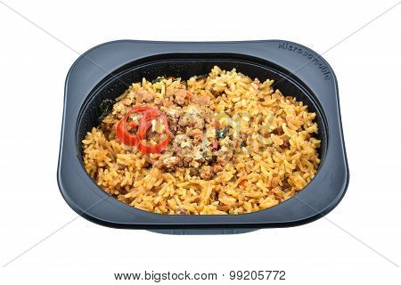 Stir-fried Basil And Pork With Fried Rice, An Innovative Instant Meal For A Hectic Life.