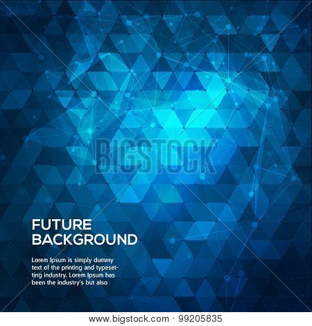 Abstract blue background with triangles. Abstract polygonal space low poly dark background with conn