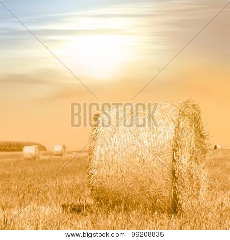 Summer field with hay bales in warm evening sunlight - photo with soft oil paint filter - autumn concept