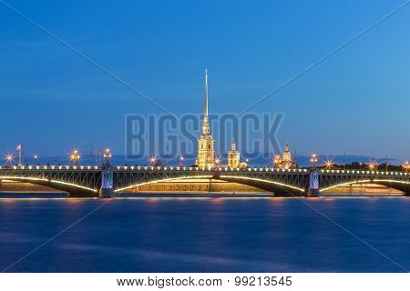 The Peter and Paul Fortress is the original citadel of St. Petersburg Russia founded by Peter the Great in 1703 and built to Domenico Trezzini's designs from 1706-1740. poster