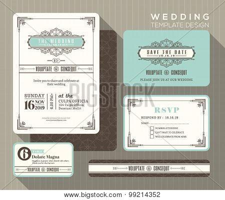 Vintage Wedding Invitation Set Design Template