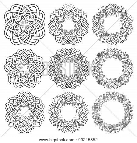 Set of magic knotting rings. Nine circular decorative elements with stripes braiding for your design. poster