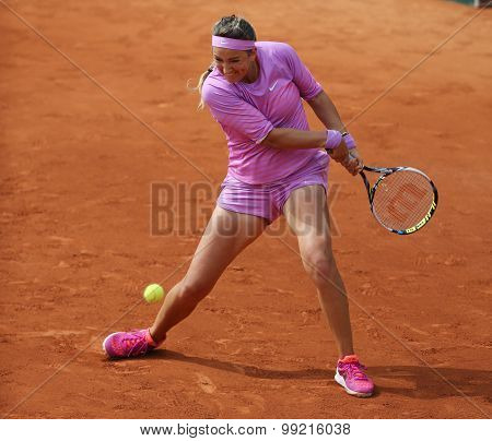 Two times Grand Slam champion Victoria Azarenka of Belarus in action at Roland Garros 2015