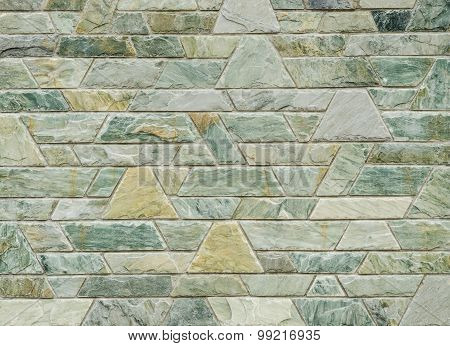 Pattern Of Green Slate Stone Wall Surface