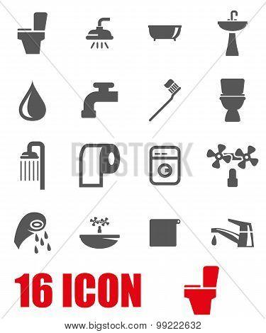 Vector Grey Bathroom Icon Set