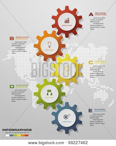 5 steps of infographics gears shape on global map background. Simple&Editable vector background.