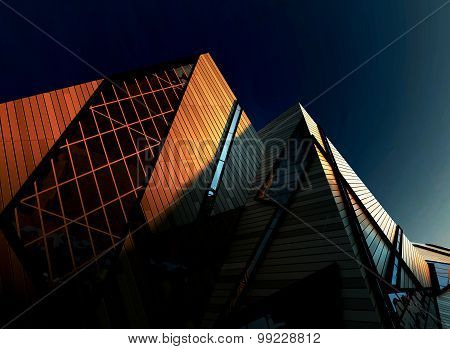 Modern Corporate Buildings in Downtown with Sun Light