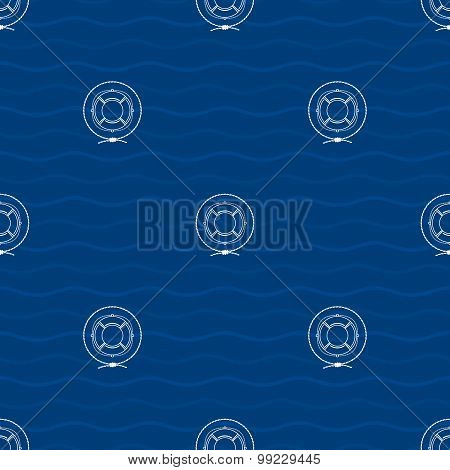 Seamless Pattern With Lifebuoy