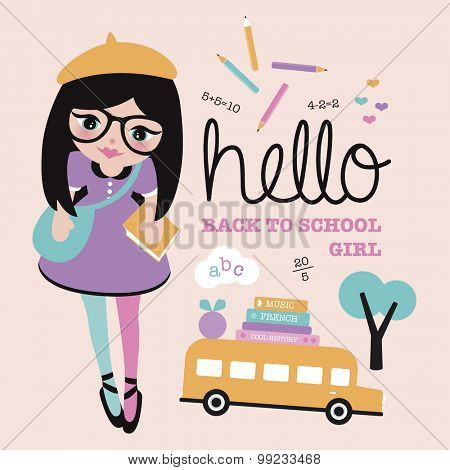 Hello back to school poster illustration cover design with books school bus ABC alphabet and nerdy school girl template in vector