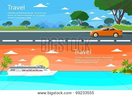 Travel Web Banner Car Drive Road, Cruise Ship Liner Tropical Island Summer Vacation