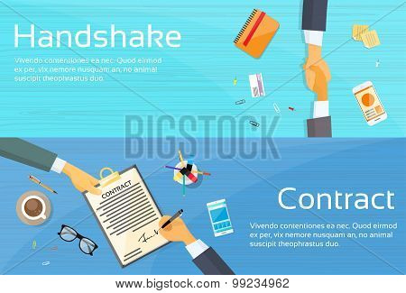 Handshake Businessman Contract Sign Up Paper Document, Business Man Hands Shake