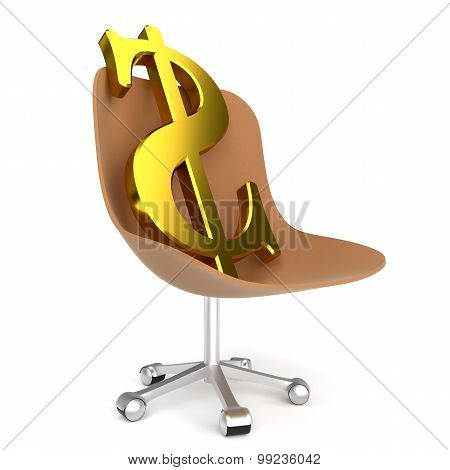 Dollar symbol in office chair